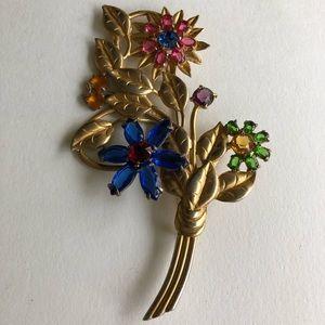 vintage huge colorful flower brooch pin